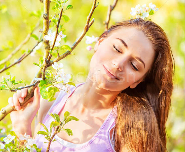 Cute girl with closed eyes outdoor Stock photo © Anna_Om