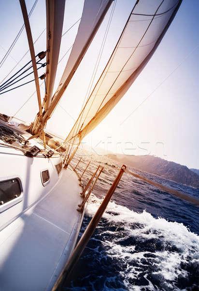 Stock fotó: Luxus · jacht · tevékenység · tenger · naplemente · vitorlázik