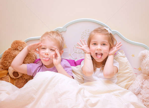 Happy kids make faces Stock photo © Anna_Om