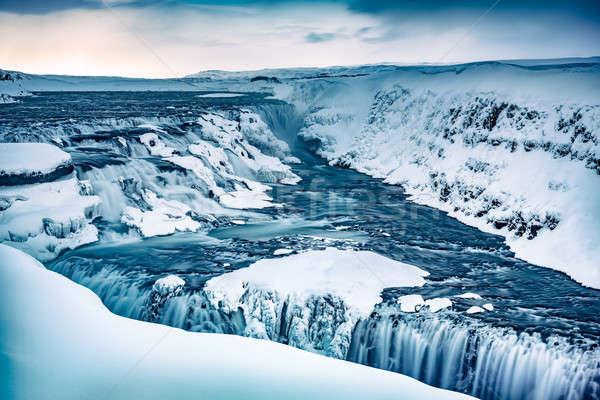 Waterval IJsland verbazingwekkend prachtig koud Stockfoto © Anna_Om