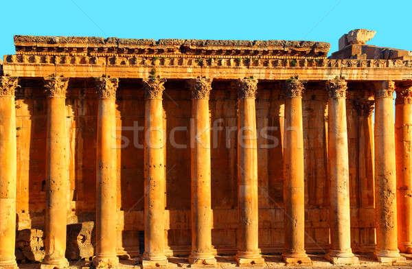 Tapınak mavi gökyüzü Lübnan eski Roma sütunlar Stok fotoğraf © Anna_Om