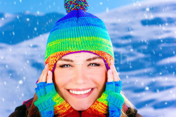 Stock photo: Cheerful girl in winter park