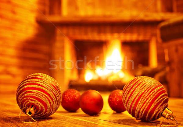 Stockfoto: Gezellig · christmas · home · mooie · Rood · glas