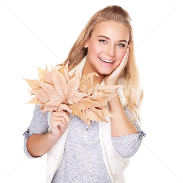 ストックフォト: 美人 · 秋 · 花束 · 肖像 · 美しい · ブロンド