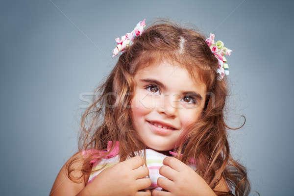 Stock fotó: Félénk · kislány · portré · szép · szürke · értékes