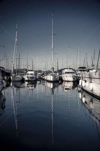 Bella barche a vela porto riflessione grande lungo Foto d'archivio © Anna_Om