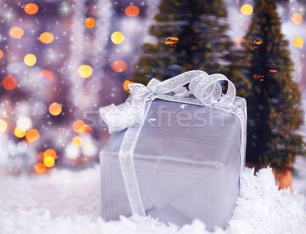 Stock photo: Silver gift box