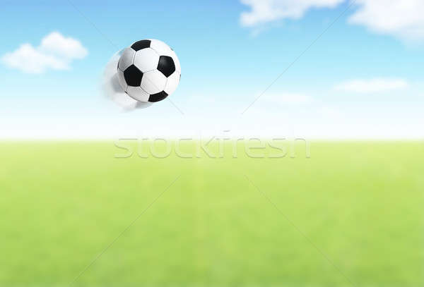 Football ball flying over field Stock photo © Anna_Om