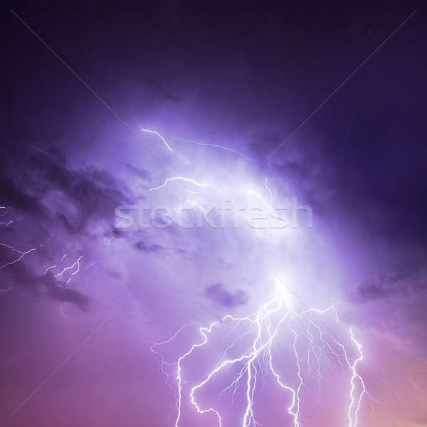 Lightning in purple sky Stock photo © Anna_Om