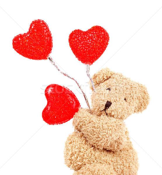 Stok fotoğraf: Oyuncak · ayı · kırmızı · kalpler · fotoğraf · kahverengi