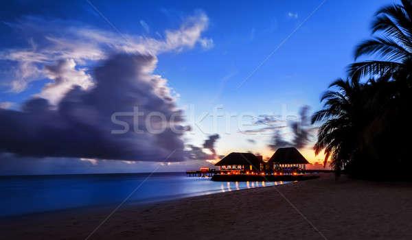 Nyugalmas éjszaka tengerpart üdülőhely egzotikus természet Stock fotó © Anna_Om
