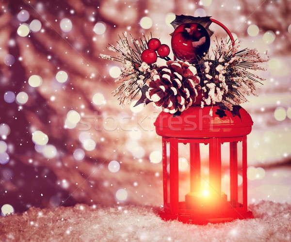 Belle Noël lanterne élégant Photo stock © Anna_Om