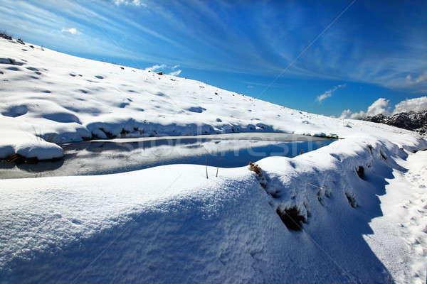 зима озеро пейзаж красивой отражение Blue Sky Сток-фото © Anna_Om