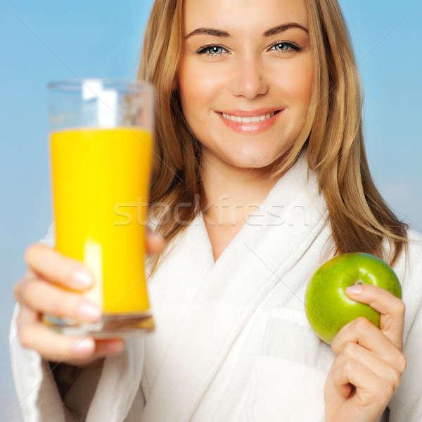 Stok fotoğraf: Sağlıklı · genç · kadın · diyet · güzel · kız · portakal · suyu