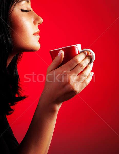 Stock photo: Beautiful lady drinking coffee