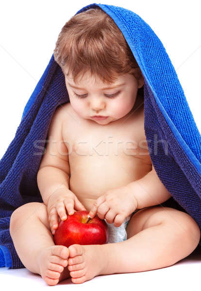 Sweet child with red apple Stock photo © Anna_Om