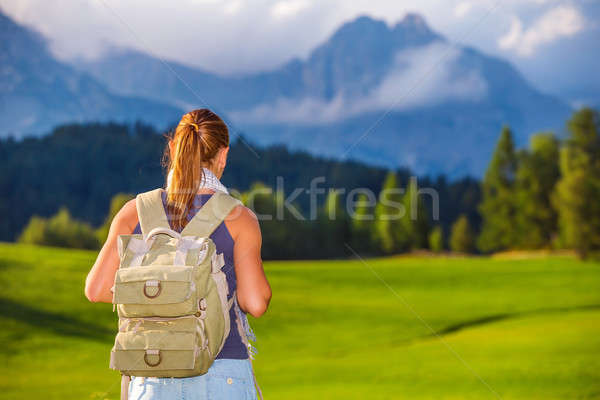 Traveler girl in the mountains Stock photo © Anna_Om