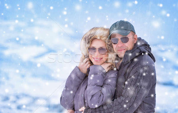 Boldog pár hóesés közelkép portré gyönyörű Stock fotó © Anna_Om