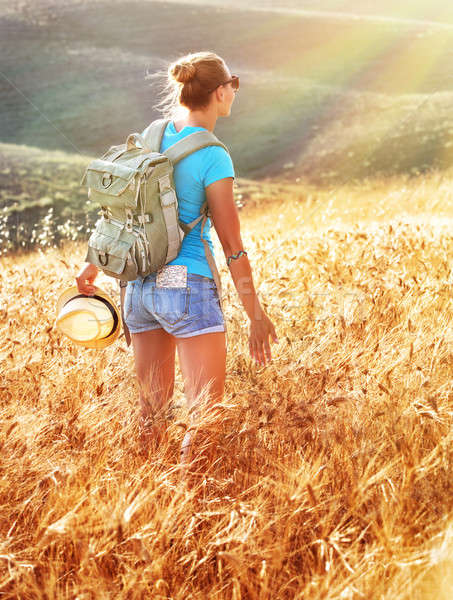 Nő arany búzamező naplemente hátizsák utazás Stock fotó © Anna_Om