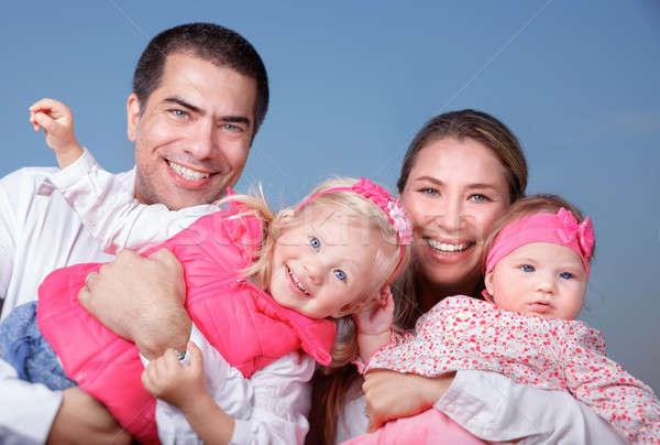 Grande famiglia felice esterna ritratto giovani Foto d'archivio © Anna_Om