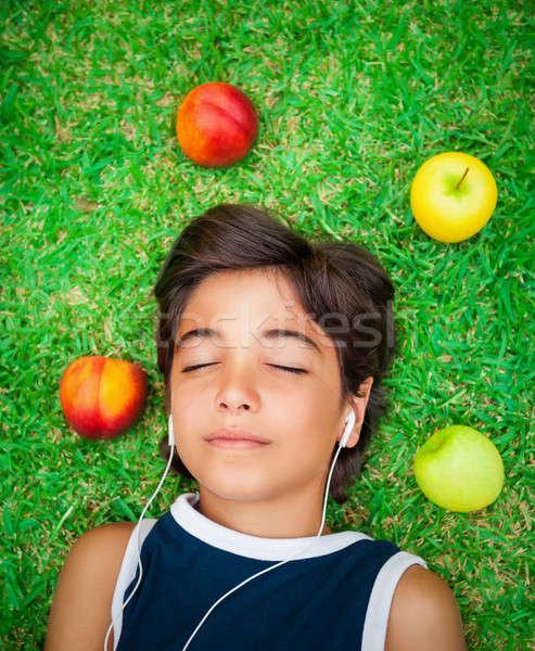 Teen boy listen music Stock photo © Anna_Om