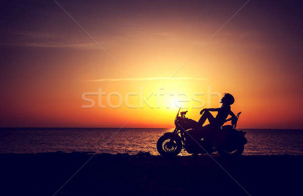 Biker woman resting outdoors Stock photo © Anna_Om