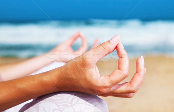 Yoga meditation on the beach Stock photo © Anna_Om