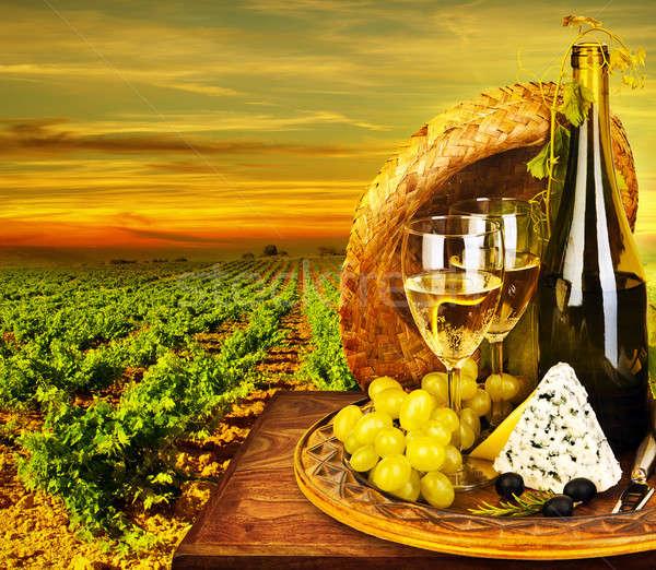 ストックフォト: ワイン · チーズ · ロマンチックな · ディナー · 屋外 · 表
