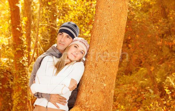 Boldog szerelmespár ősz park fotó idő Stock fotó © Anna_Om