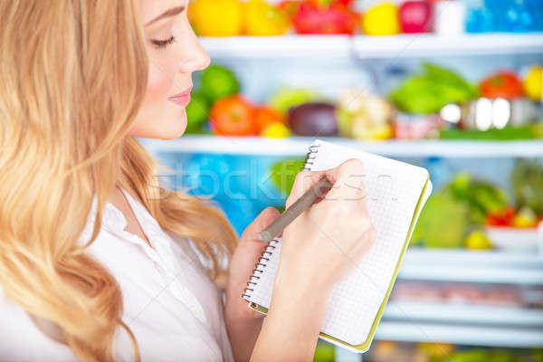 Cute housewife writing list to supermarket Stock photo © Anna_Om