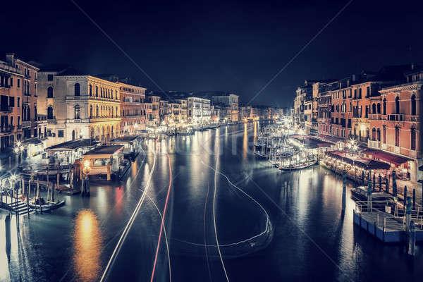Сток-фото: Венеция · ночному · городу · красивой · Cityscape · многие