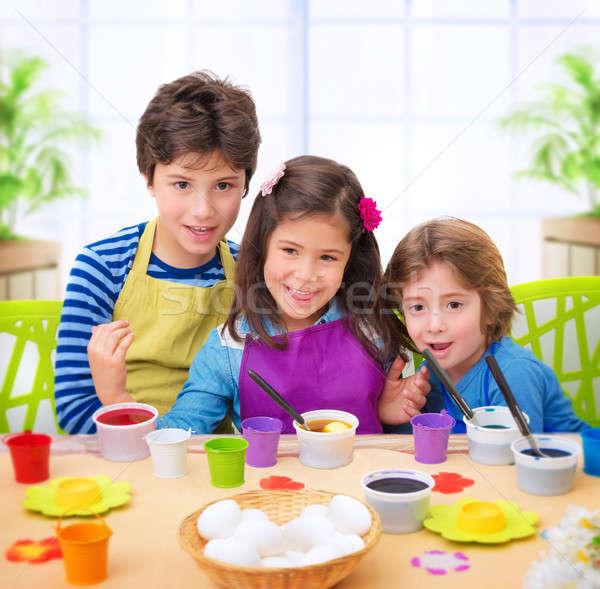 Stockfoto: Gelukkig · kinderen · verf · eieren · portret · cute