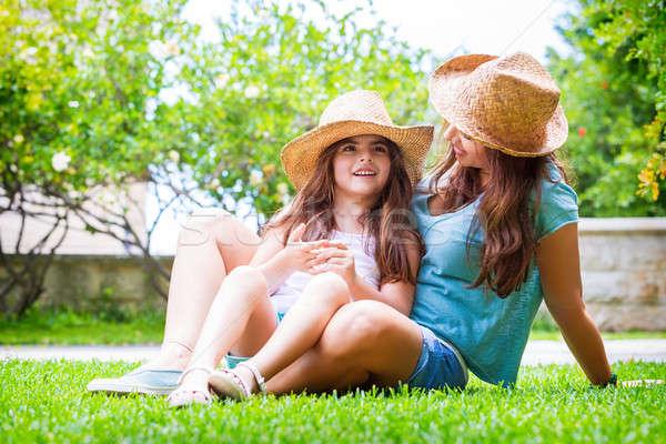 Happy family in the backyard Stock photo © Anna_Om