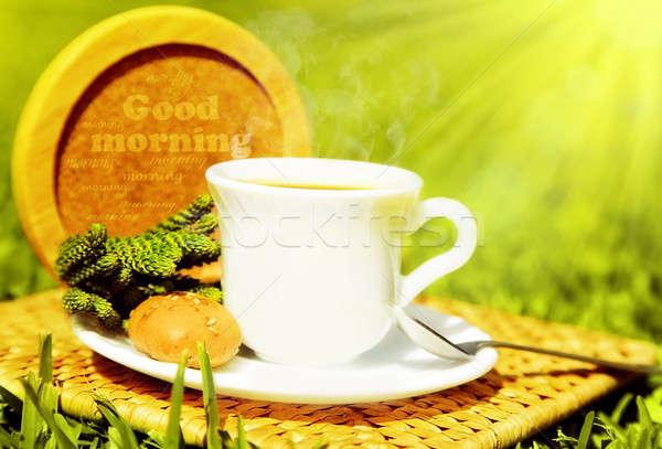 Guten Morgen Morgen Tee Kaffee Französisch Stock