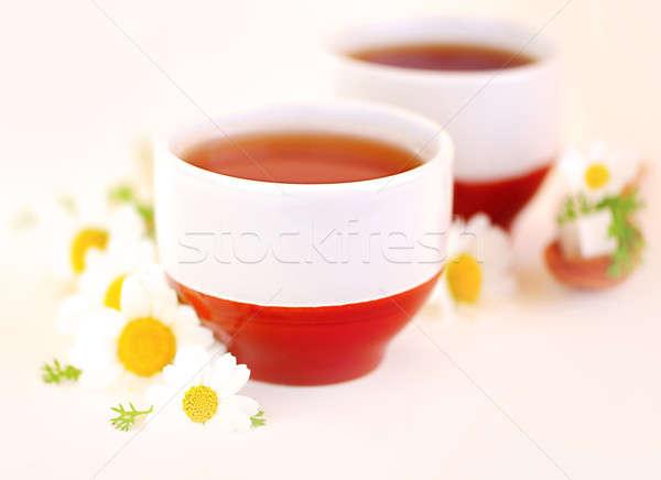 Manzanilla té taza flores atención selectiva Foto stock © Anna_Om