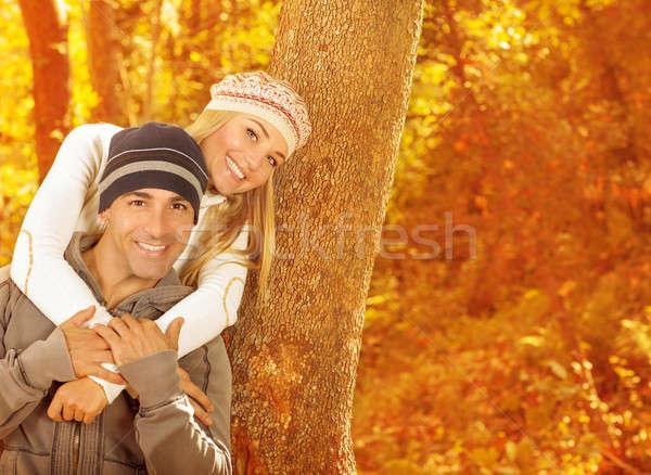 Foto stock: Jovem · família · floresta · quadro · dois · feliz