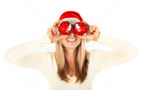 Foto stock: Nina · Navidad · fiesta · foto · bastante · rubio