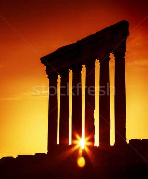 Temple Liban vieux colonnes coucher du soleil anciens Photo stock © Anna_Om