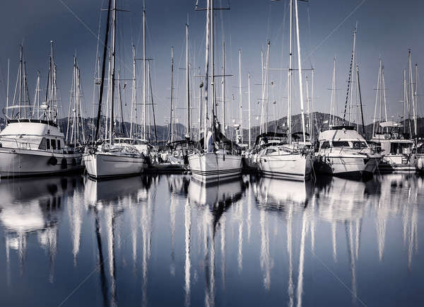 Sail boat harbor in evening Stock photo © Anna_Om