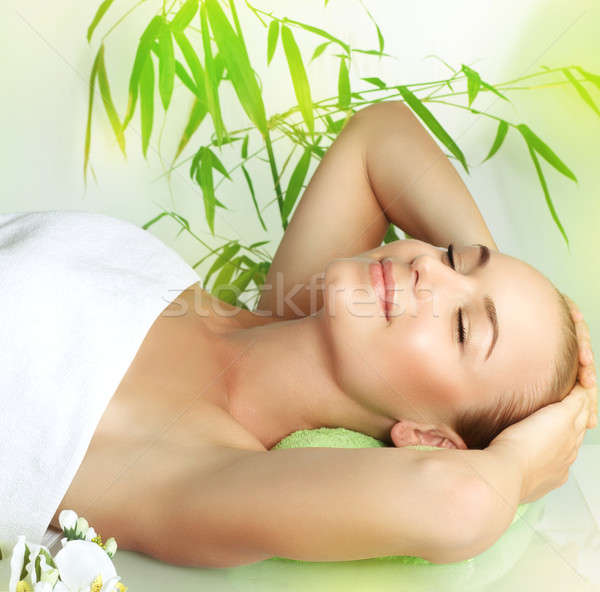Happy girl enjoying day spa Stock photo © Anna_Om
