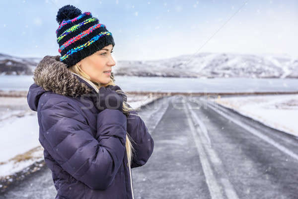 Femme Islande portrait Nice hiver Photo stock © Anna_Om
