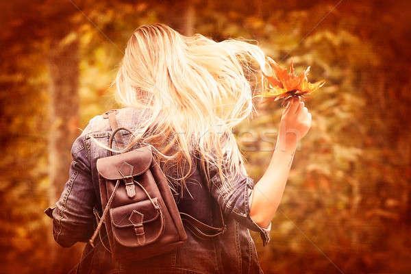 Szórakozás ősz park klasszikus stílus fotó Stock fotó © Anna_Om
