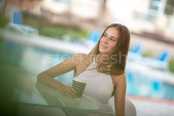 Pretty woman with morning coffee  Stock photo © Anna_Om