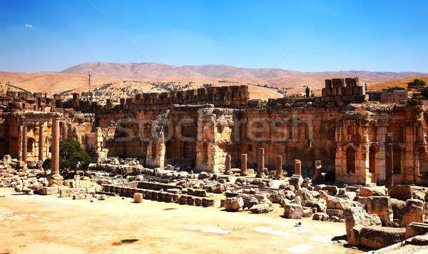 Város templom Libanon ősi római oszlopok Stock fotó © Anna_Om