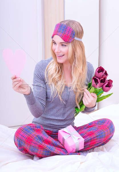 Stockfoto: Romantische · ochtend · Valentijn · dag · cute · meisje