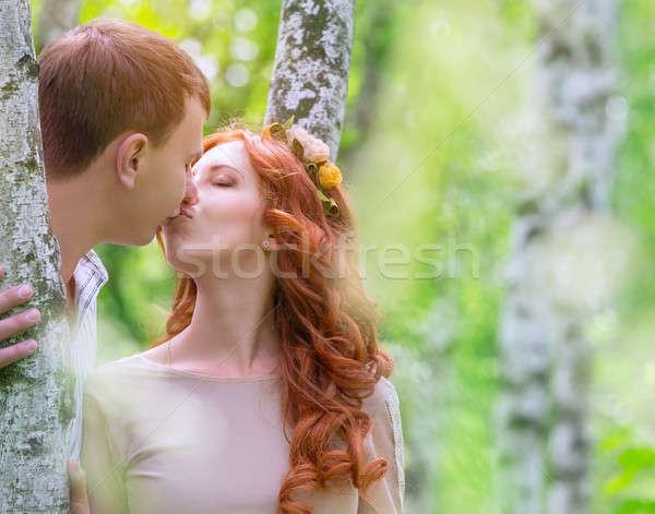 нежный пару целоваться улице молодые счастливым Сток-фото © Anna_Om