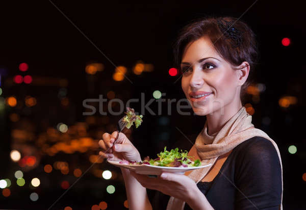 Beautiful woman in the restaurant Stock photo © Anna_Om