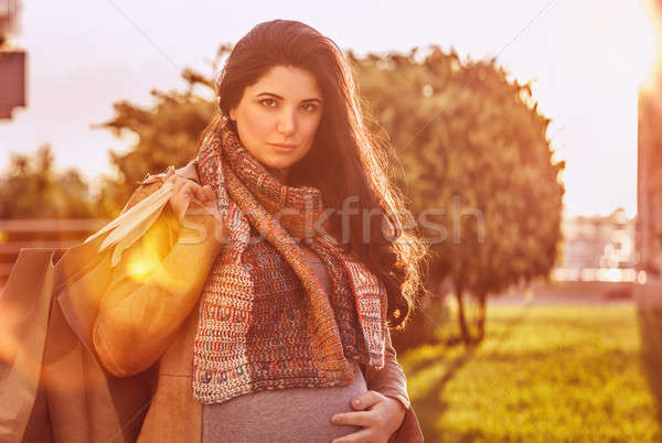 Pregnant woman with shopping bag Stock photo © Anna_Om