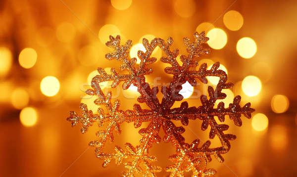 Stock photo: Golden snowflake Christmas tree decoration