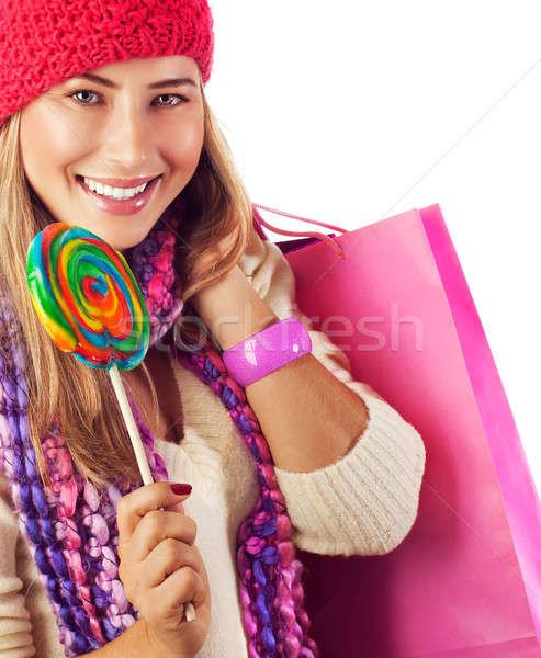 Woman lick lollipop Stock photo © Anna_Om